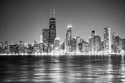 City Scenes Royalty-Free and Rights-Managed Images - Chicago Lakefront Skyline Black and White Photo by Paul Velgos