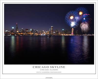 Chicago Lakefront Skyline Poster Art Print
