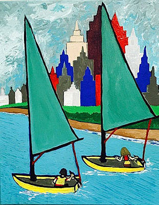 Painting - Chicago Lakeshore Sailing by Jonathon Hansen