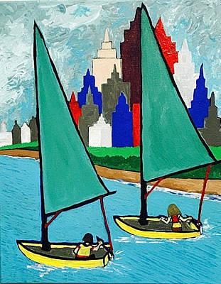 Painting - Chicago Lakeshore Sailing by Jonathon Hansen