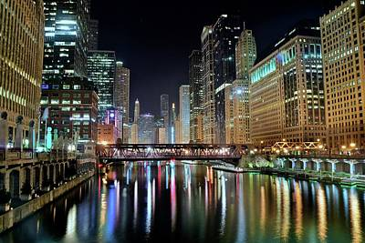 Photograph - Chicago Lights Shimmer by Frozen in Time Fine Art Photography