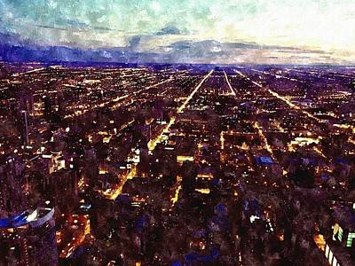 Chicago Skyline Mixed Media - Chicago Lights Watercolor by Mary Pille