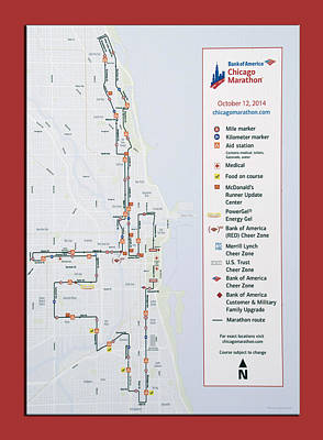 Timelines Mixed Media - Chicago Marathon Race Day Route Map 2014 by Thomas Woolworth
