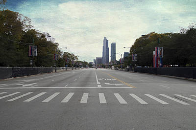 Columbus Drive Photograph - Chicago Marathon The Day Before 01 Textured by Thomas Woolworth