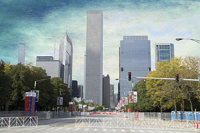 Columbus Drive Photograph - Chicago Marathon The Day Before Textured by Thomas Woolworth