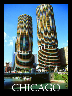 Google Mixed Media - Chicago Marina City - Poster Art by Art America Gallery Peter Potter