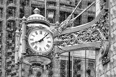 Photograph - Chicago Marshall Field State Street Clock Black And White by Christopher Arndt