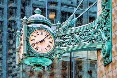 Marshall Painting - Chicago Marshall Field State Street Clock by Christopher Arndt