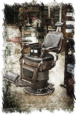 Chicago Marshall Fields Antique Barber Chair Pa 01 Vertical Art Print by Thomas Woolworth