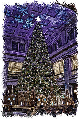 Chicago Marshall Fields Macys Walnut Room Xmas Tree Pa Art Print by Thomas Woolworth