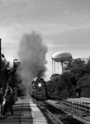 Digital Art - Chicago Metra Line Steam Engine In Bw by Steve Karol