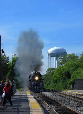 Digital Art - Chicago Metra Line Steam Engine Lake Cook Rd by Steve Karol