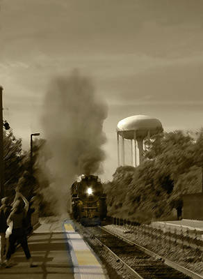 Digital Art - Chicago Metra Line Steam Engine Sepia by Steve Karol