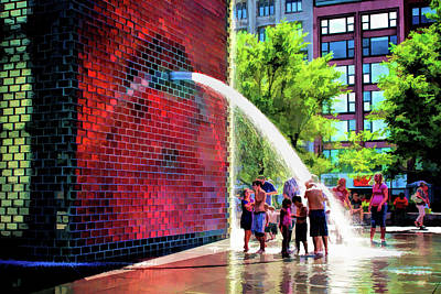 Painting - Chicago Millennium Park Crown Fountain by Christopher Arndt