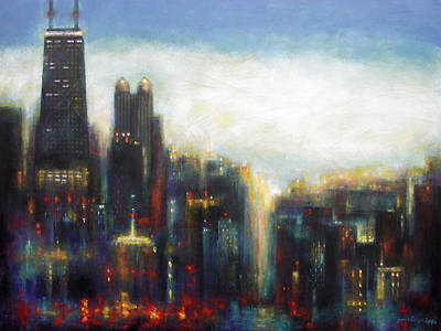 Abstract Art Painting - Chicago - Misty Morning by Joseph Catanzaro
