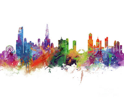Chicago Skyline Mixed Media - Chicago by Monn Print
