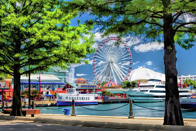 Painting - Chicago Navy Pier Tour Boats by Christopher Arndt