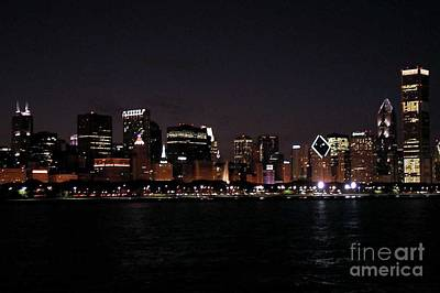 Chicago Night Art Print by Cathy Weaver