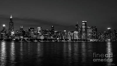 Photograph - Chicago Night Cityscape Grayscale by Jennifer White