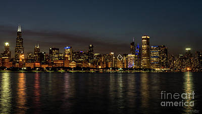 Photograph - Chicago Night Cityscape by Jennifer White