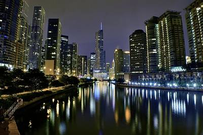 Riverwalk Photograph - Chicago Night Lights by Frozen in Time Fine Art Photography