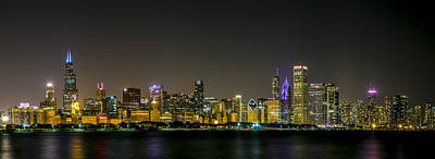 Photograph - Chicago Night Panorama by Lev Kaytsner