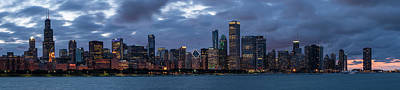 Photograph - Chicago Night Skyline by Ryan Heffron