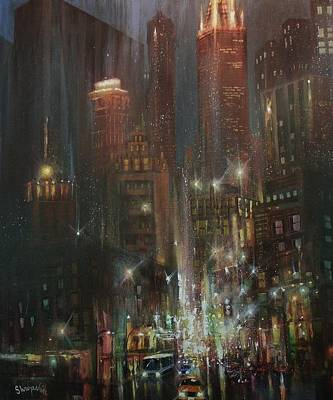 Chicago At Night Painting - Chicago Night by Tom Shropshire