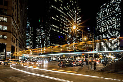 Chicago Nighttime Time Exposure Art Print