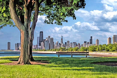 Sears Tower Painting - Chicago North Skyline Park by Christopher Arndt