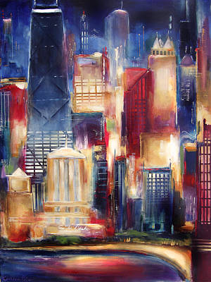 Chicago Oak Beach Skyline Art Print by Kathleen Patrick