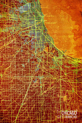 Chicago Old Map Print by Pablo Franchi