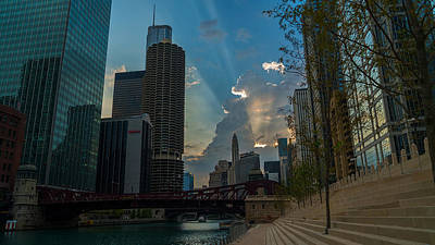 Photograph - Chicago Over Clark St. Bridge by Nisah Cheatham