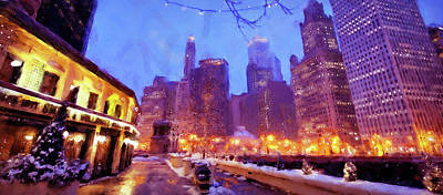 Painting - Chicago Panorama - 01 by Andrea Mazzocchetti