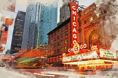 Painting - Chicago Panorama - 03 by Andrea Mazzocchetti
