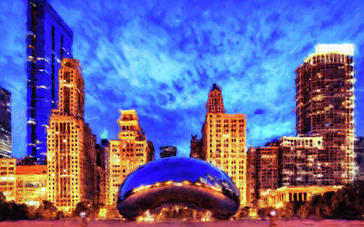 Painting - Chicago Panorama - 05 by Andrea Mazzocchetti