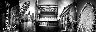 Chicago Theatre Photograph - Chicago Panorama Collage High Resolution Photo by Paul Velgos