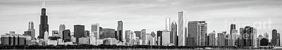 Hancock Building Wall Art - Photograph - Chicago Panorama Skyline High Resolution Black And White Photo by Paul Velgos