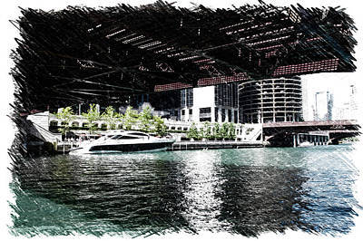 Soldier Field Mixed Media - Chicago Parked On The River In June 03 Pa 01 by Thomas Woolworth