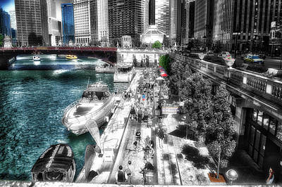 Soldier Field Mixed Media - Chicago Parked On The River Walk 03 Sc by Thomas Woolworth