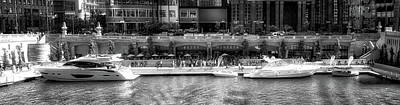 Soldier Field Mixed Media - Chicago Parked On The River Walk Panorama 02 Bw by Thomas Woolworth