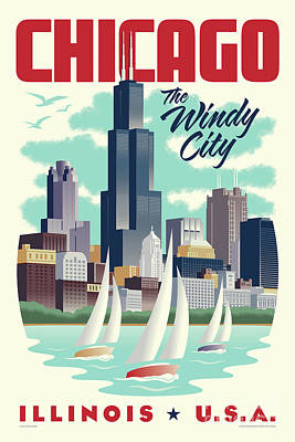 Lake Michigan Digital Art - Chicago Retro Travel Poster by Jim Zahniser