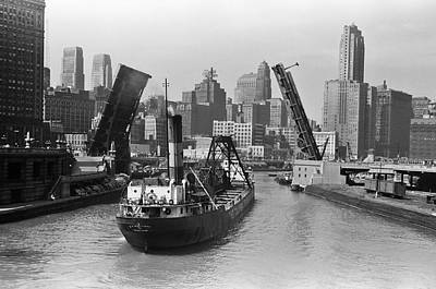 Freighter Photograph - Chicago River 1941 by Daniel Hagerman