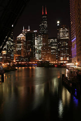 Chicago River At Night Art Print by Christopher Purcell