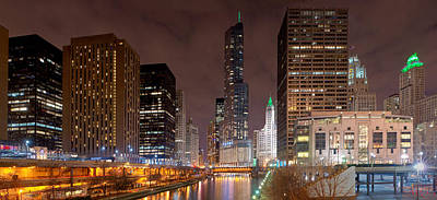Chicago Photograph - Chicago River At Night by Kevin Eatinger