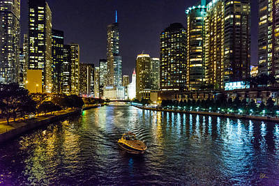 Photograph - Chicago River At Night by Pat Scanlon