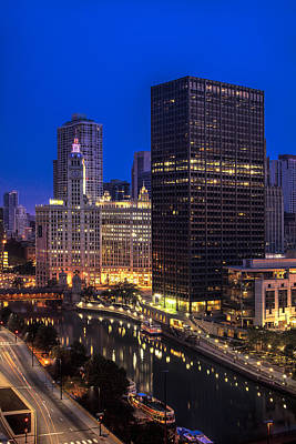 Flag Photograph - Chicago River At Twilight by Andrew Soundarajan