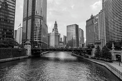Photograph - Chicago River Black And White  by John McGraw
