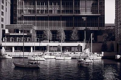 Chicago River Boats Bw Original
