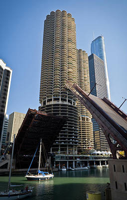 Transportation Royalty-Free and Rights-Managed Images - Chicago River Bridge Lift at Marina Towers by Steve Gadomski